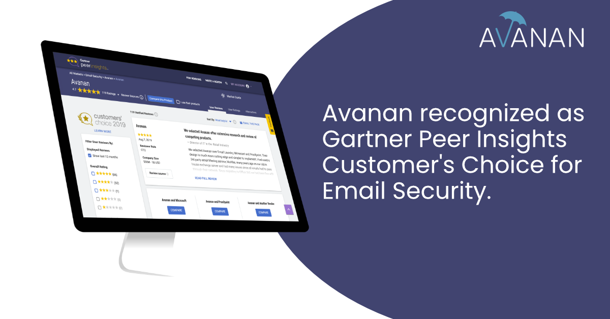 Avanan Recognized as a 2019 Gartner Peer Insights Customers' Choice for Email Security