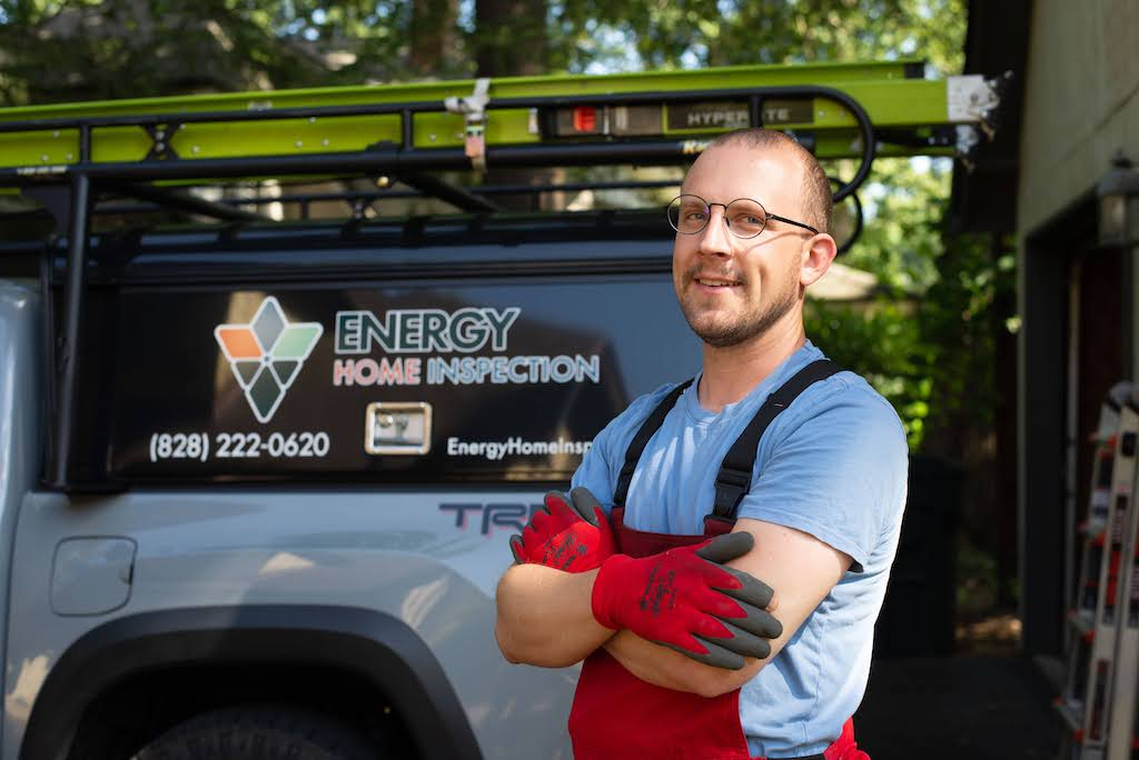Jonathan Gach in front of his Energy Home Inspection truck