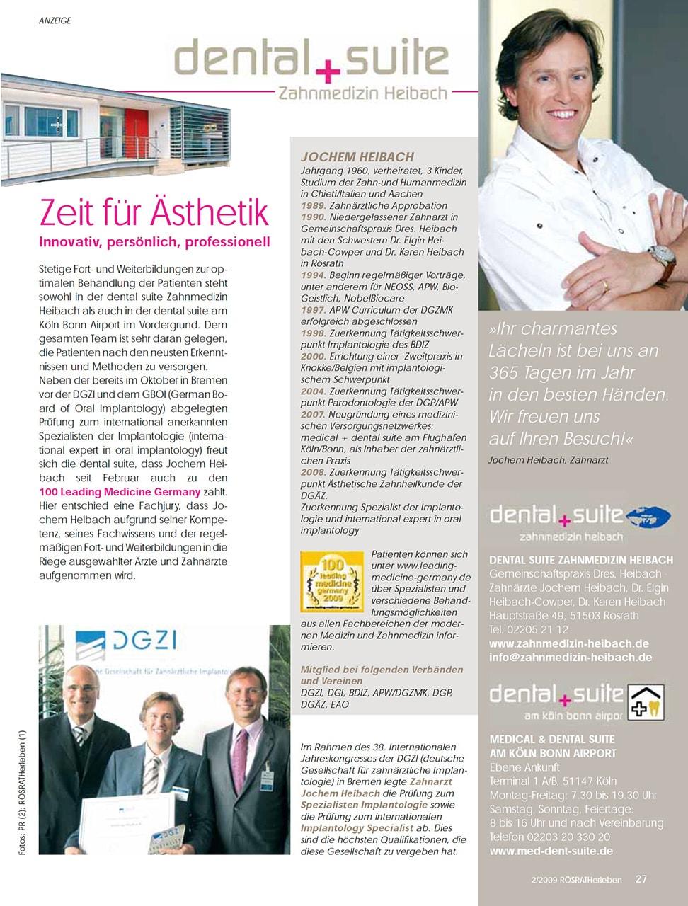 Z-MVZ dental suite - Pressemitteilung: Zeit für Ästhetik - innovativ, persönlich, professionell
