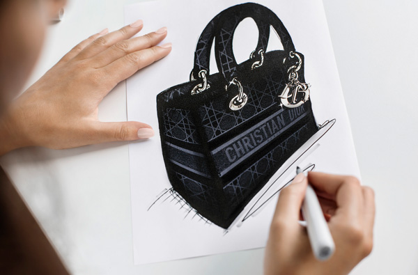 the making of dior's lady d-lite bag in velvet