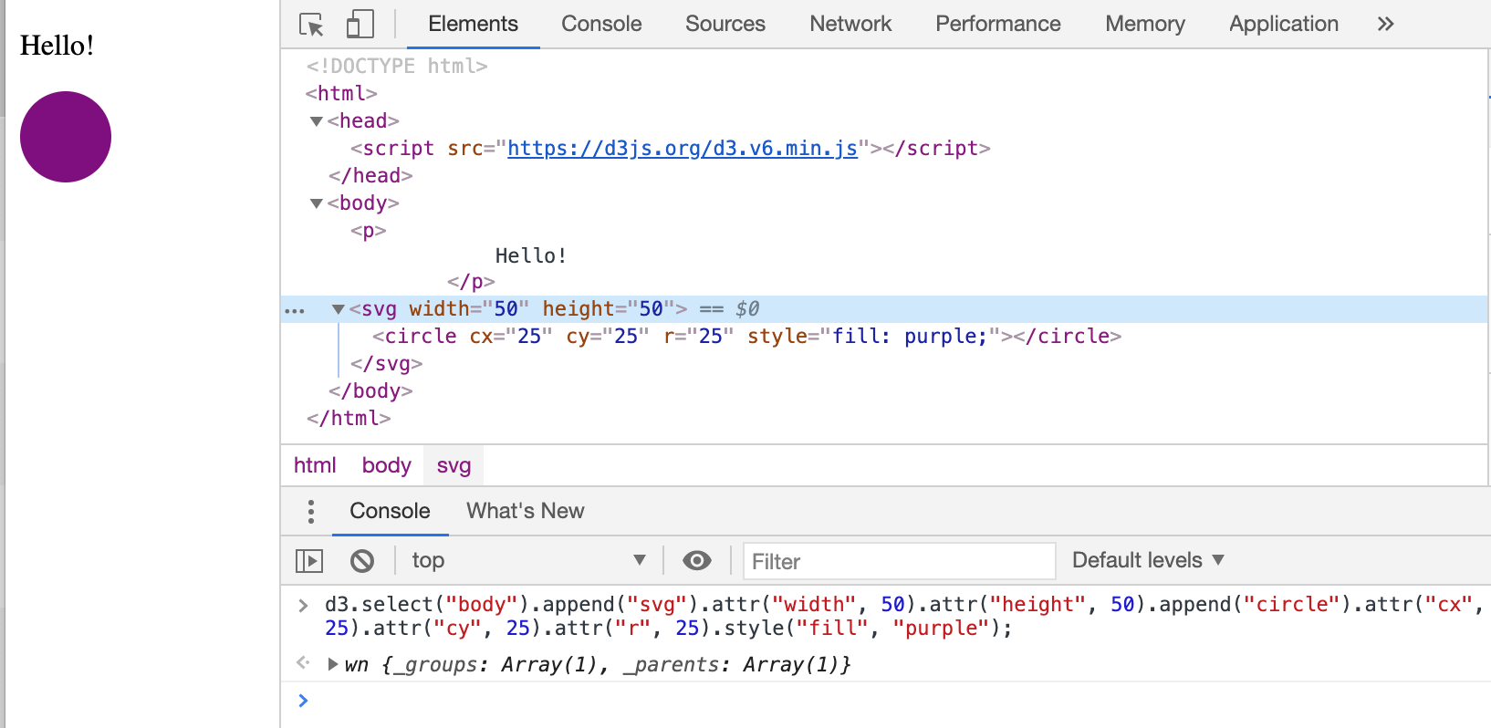 Use D3.js to Add SVG Element to Web Page