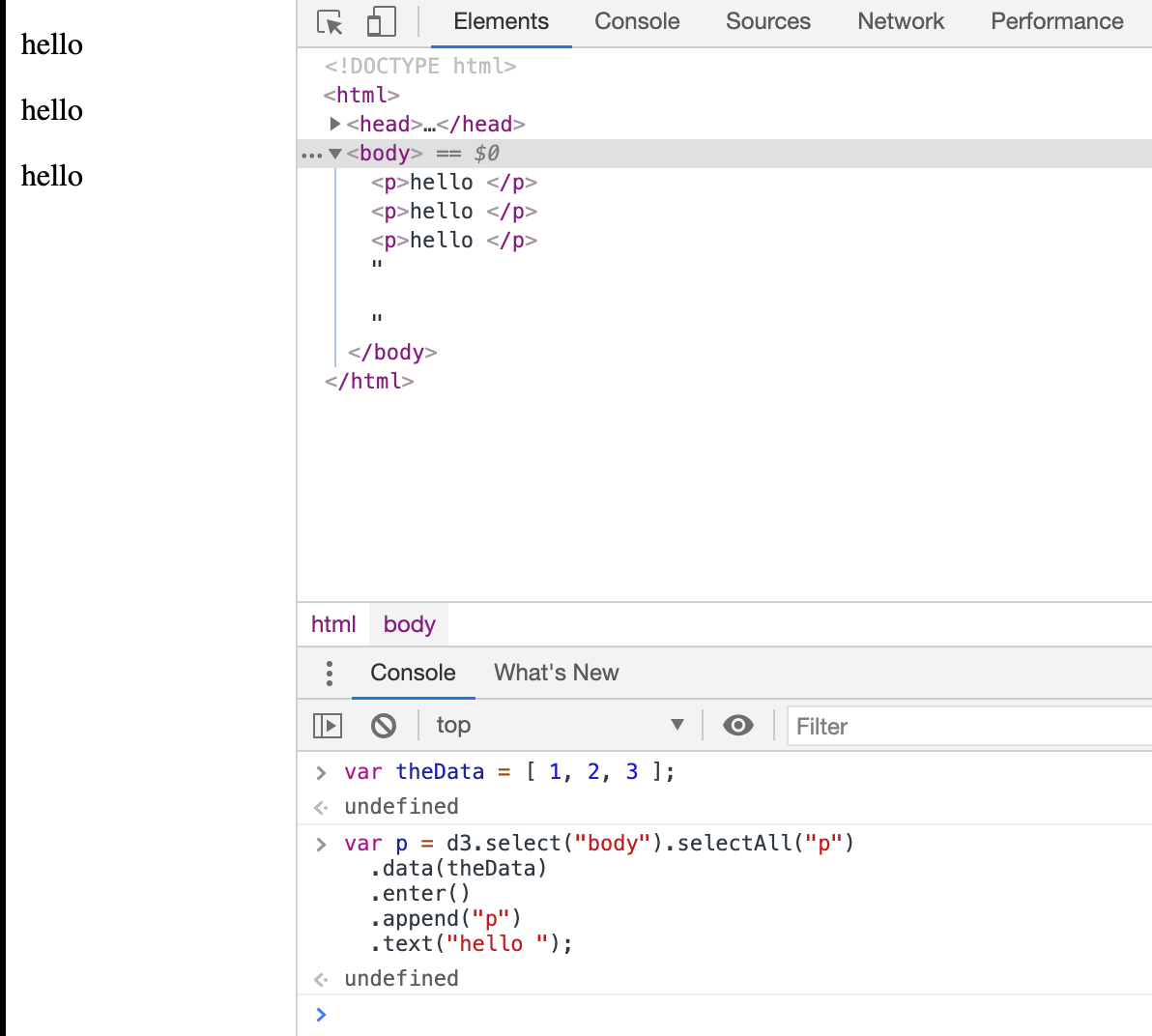 Use D3.js to Bind Data To Paragraph DOM Elements