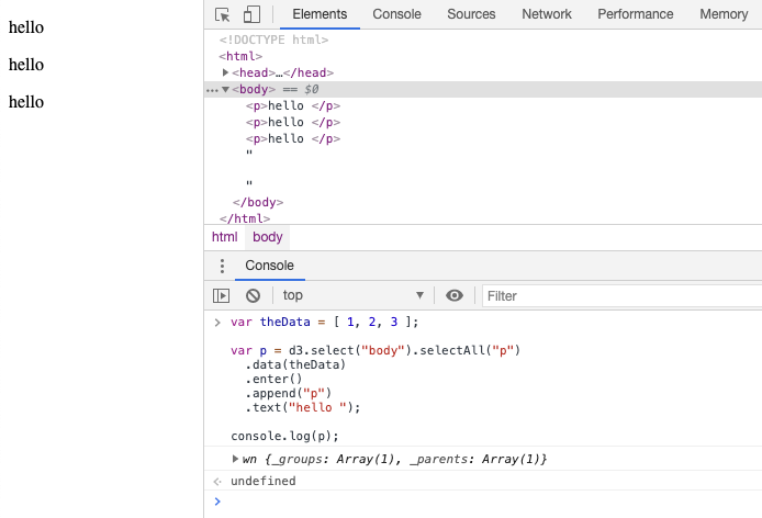 Data Bound to HTML Paragraph Elements Using D3.js v6