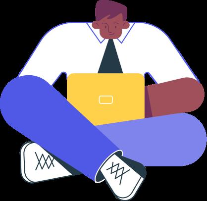 Boy with laptop illustration