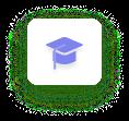 Graduation hat icon in indigo
