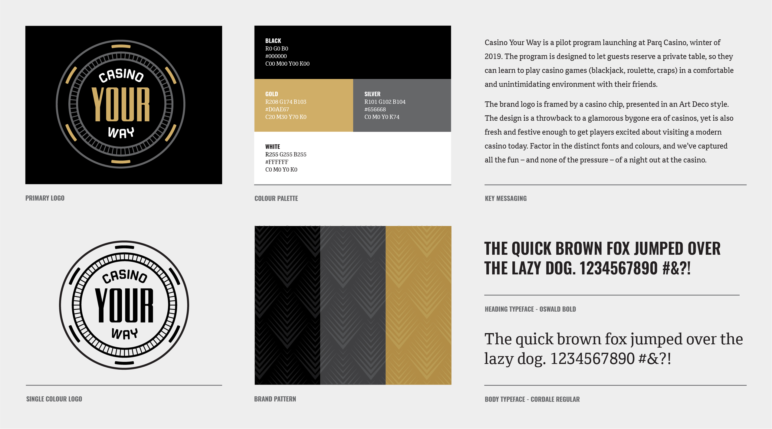 The Casino Your Way style guide provides an overview of the visual style for use by the client's marketing team