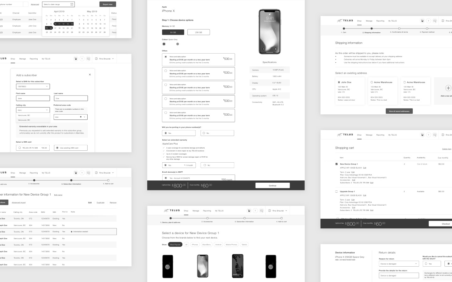 Wireframes of key screens across the TELUS IQ purchase flow