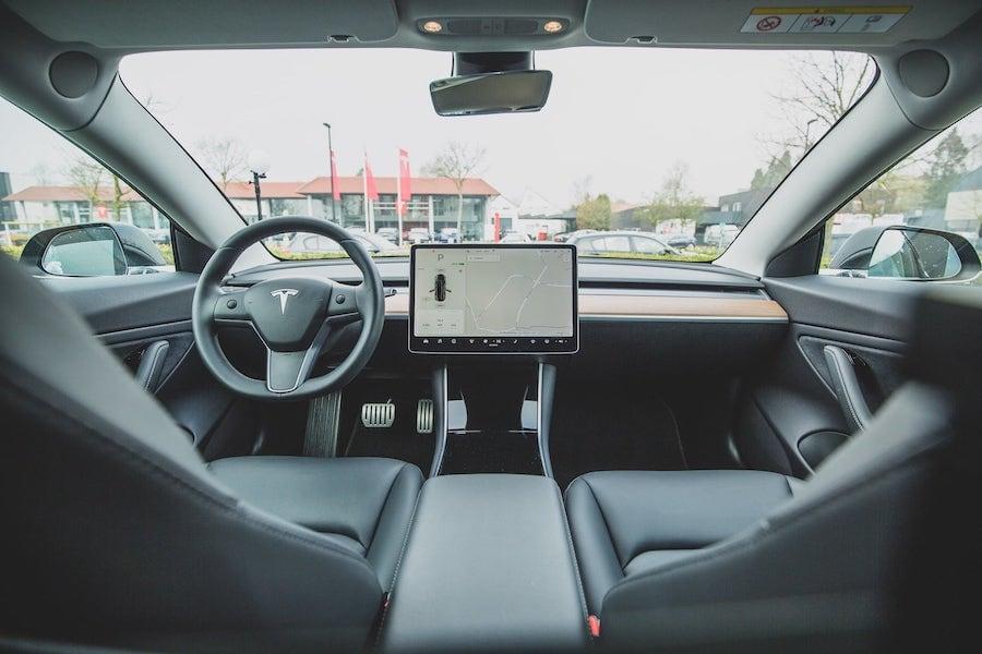 Interior of Tesla, vehicle with autonomous driving capabilities
