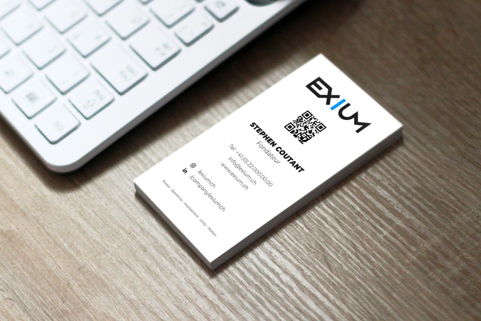 Back business card design of EXIUM