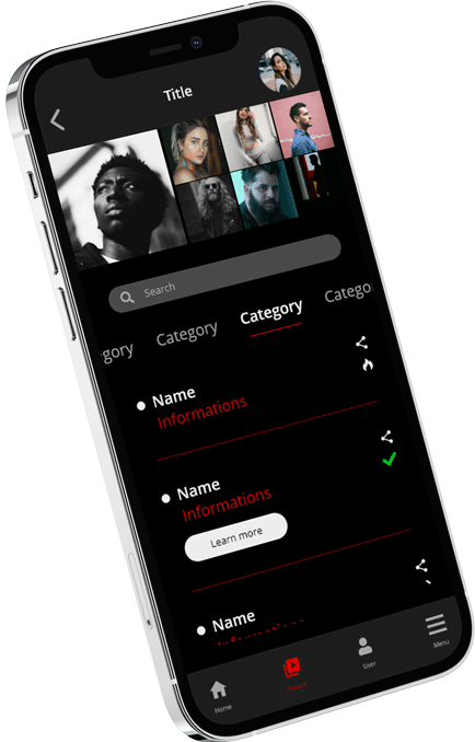 List screen of a UI app project