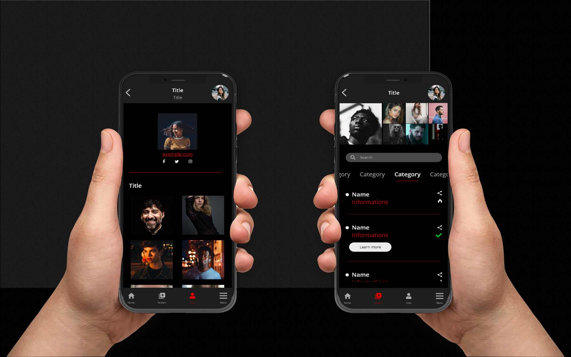 2 mockup screens of UI App