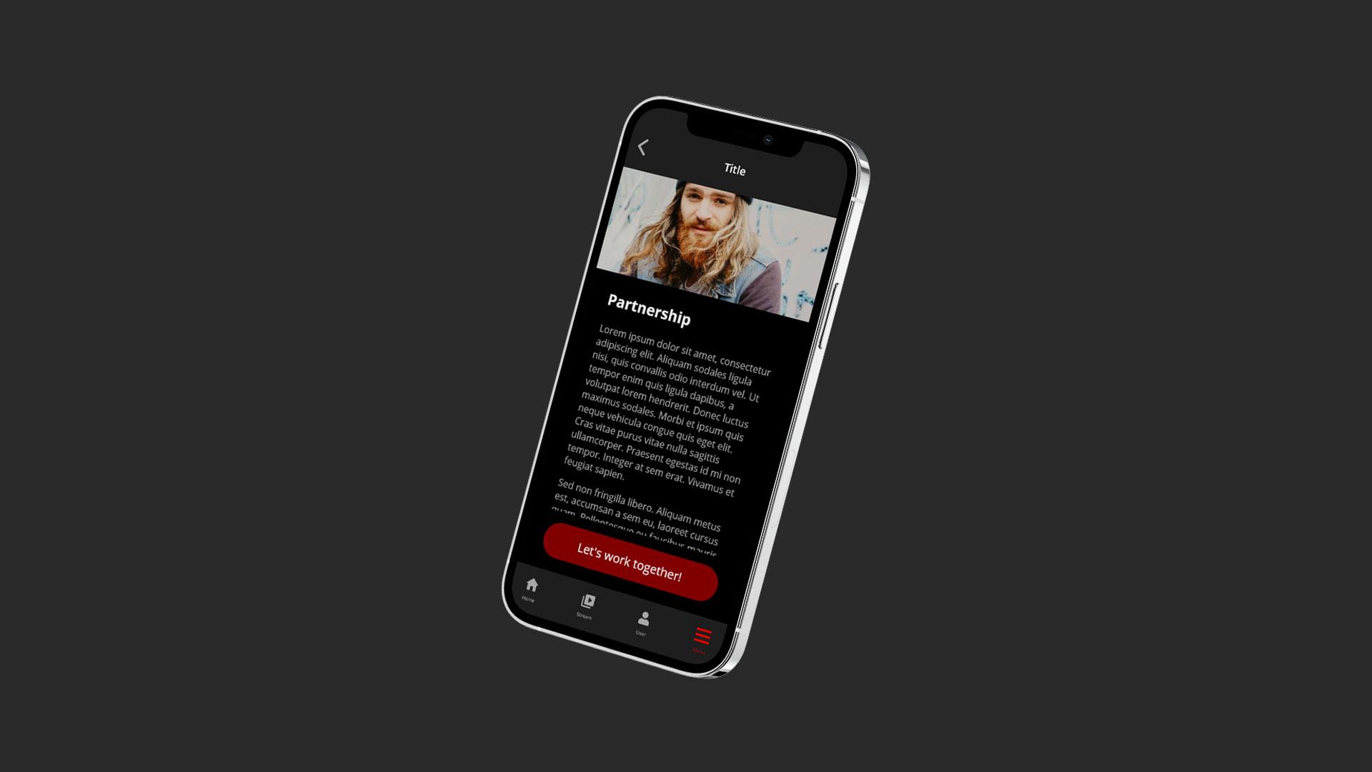 Partner screen of UI App