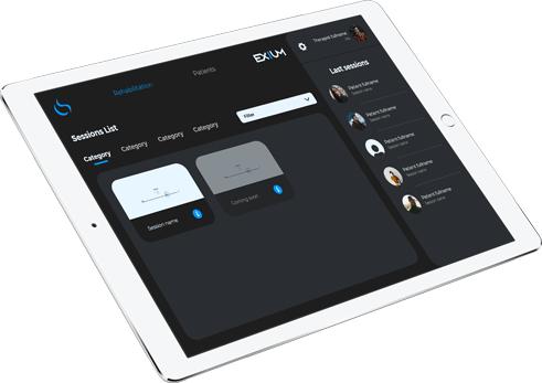 Session list screen of EXIUM app
