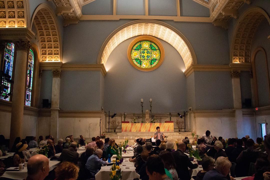 people gathered at a judson church in NYC