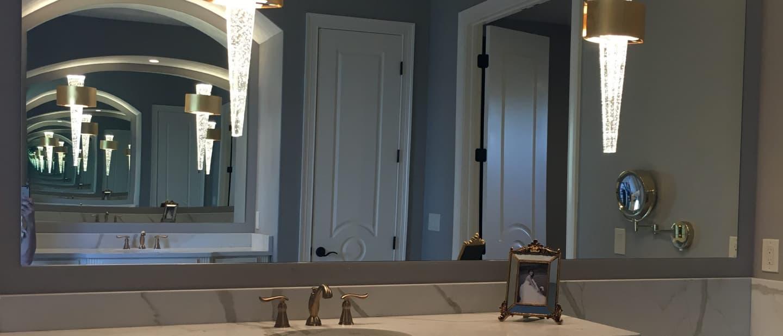 Bathroom mirror with elegant lighting