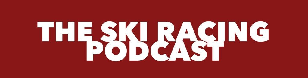 The Ski Racing Podcast Logo on Red Background