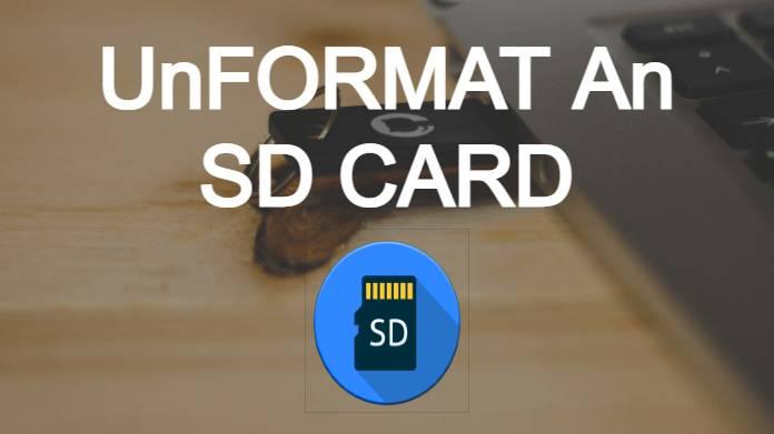 unformat sd card