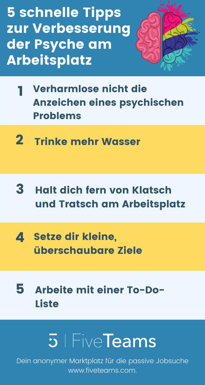 5 schnelle Tipps zu Verbesserung der Psyche Arbeitsplatz