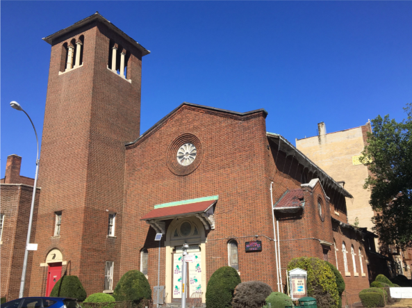 """Baptist Church of the Redeemer at Flatbush, pictured here in the summer of 2015, had fallen into disrepair. """"There was water coming in everywhere,"""" the pastor said."""