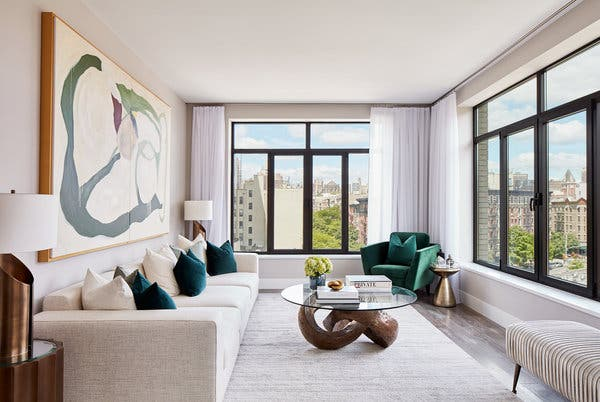 Rendering of a living room at 10 Lenox Avenue, where condo prices start at $615,000.