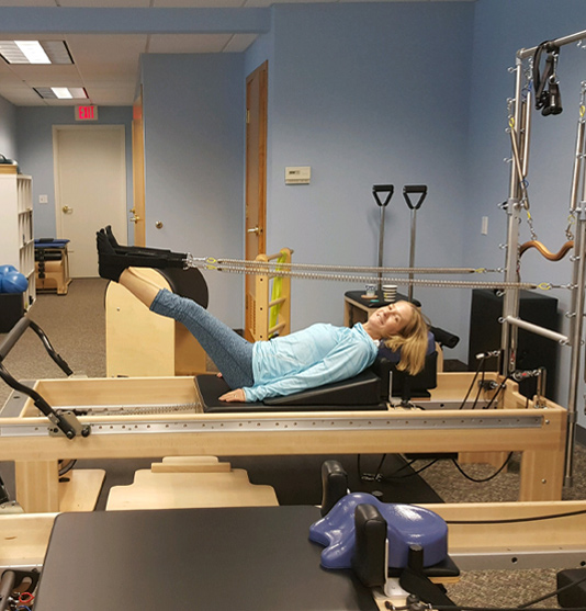 Nancy Oakes on Reformer at Constant Movement in Grand Rapids, MI