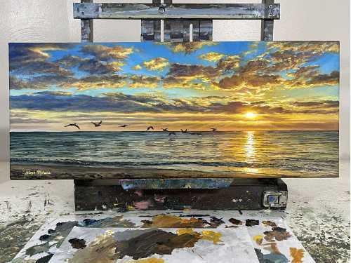 Naples Sunset on Easel