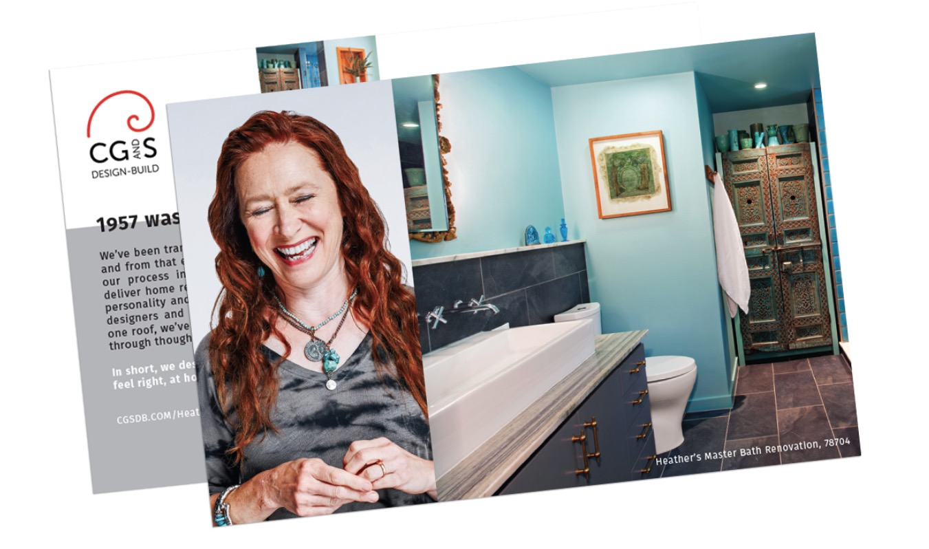 A campaign postcard showing a redheaded woman with turquoise jewelry laughing beside an image of her turquoise bathroom.