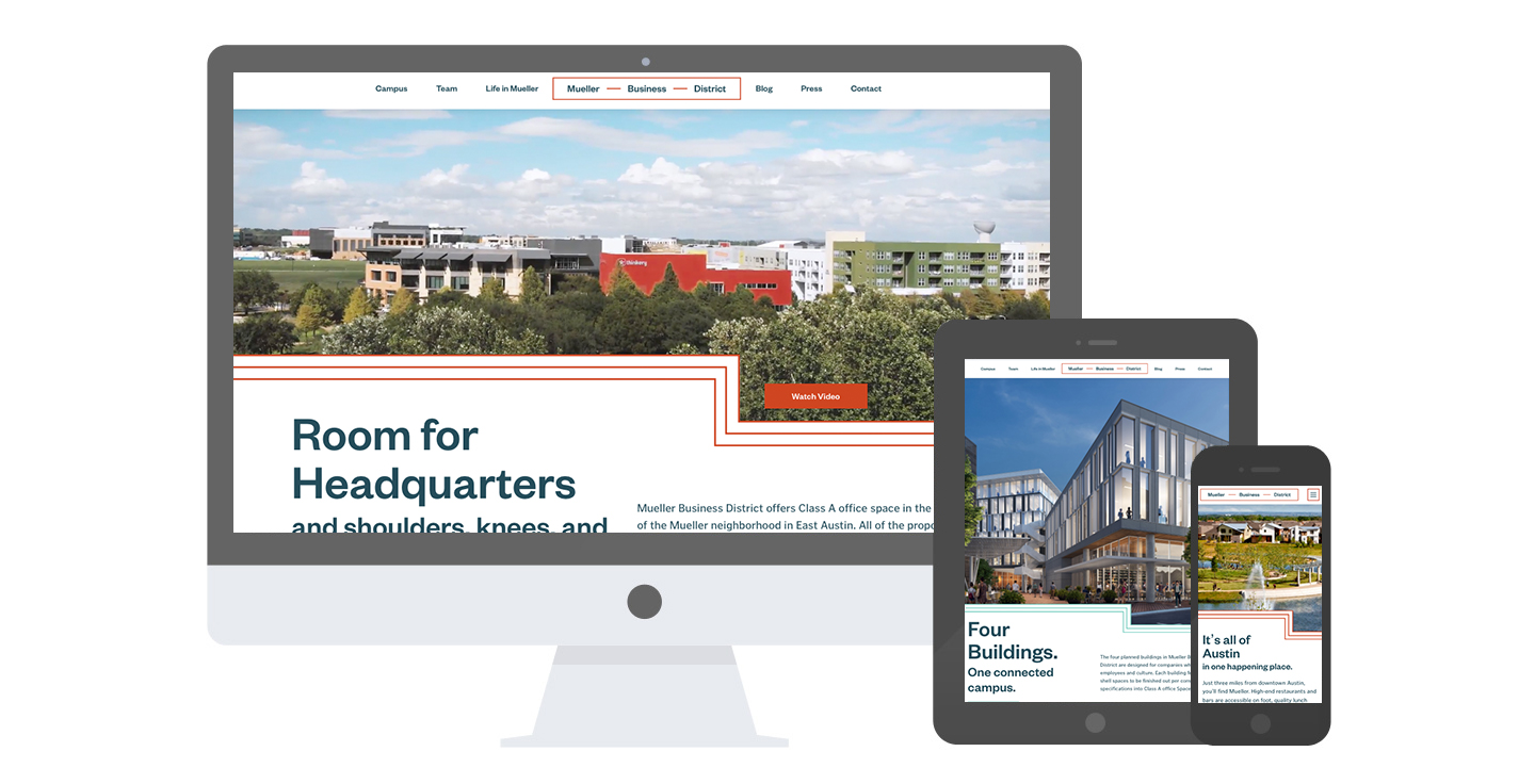 The Mueller Business District website across different device screens.