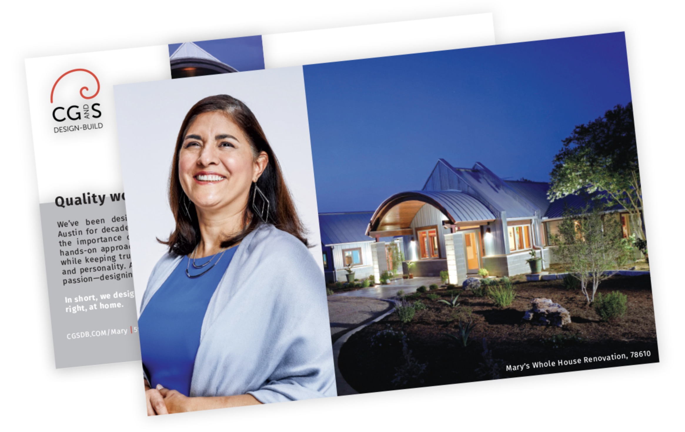 A campaign postcard of a woman in  a blue shirt with geometric jewelry beside the exterior of a home with geometric shapes against a blue sky.