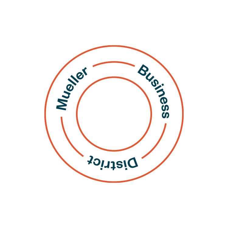 Logo of Mueller Business District.
