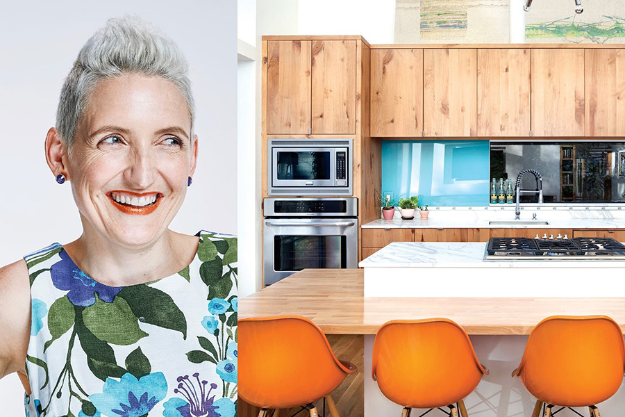 A campaign image for CG&S that compares a house's resident side by side with her kitchen.