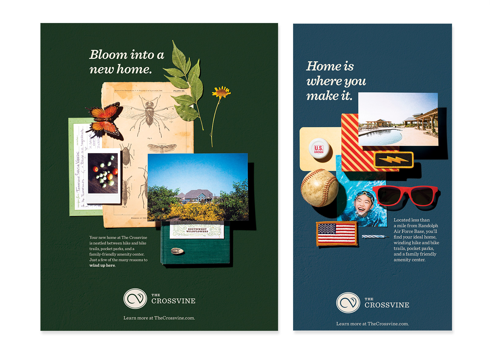 """Two print advertisements using the collages pictured above. One says """"Bloom into a new home"""" and the other """"Home is where you make it."""""""