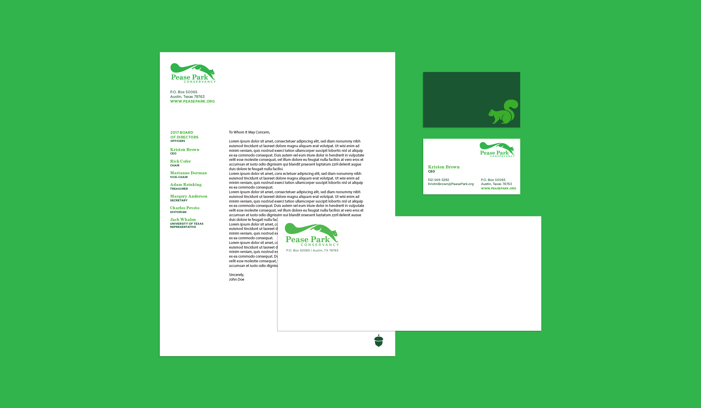 Stationary for Pease Park Conservancy.