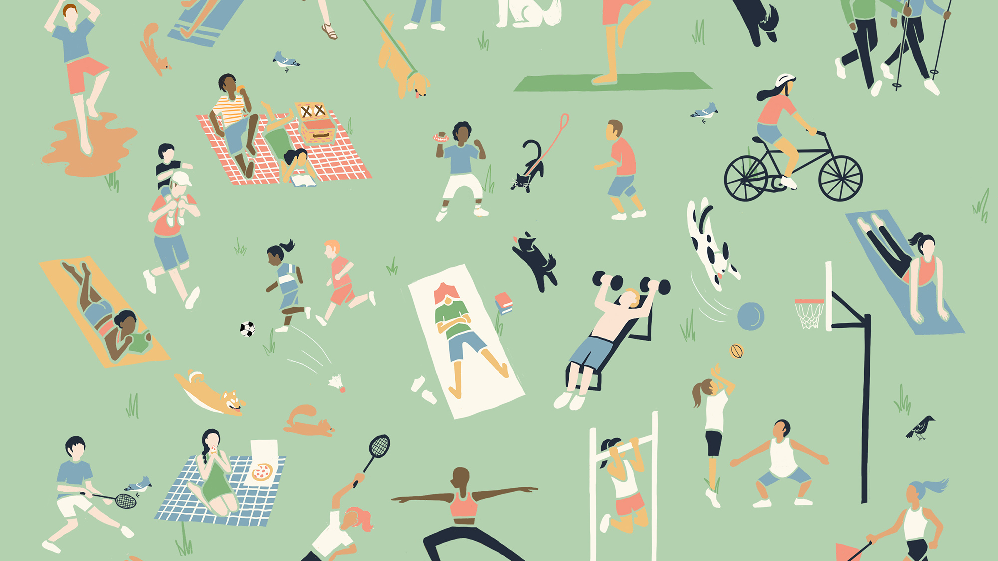 An illustration of people playing, exercising, and biking in a park.