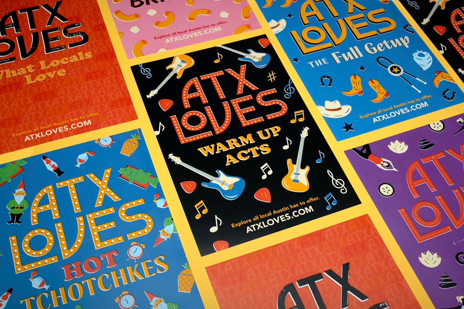 A series of illustrated ATXLoves postcards.