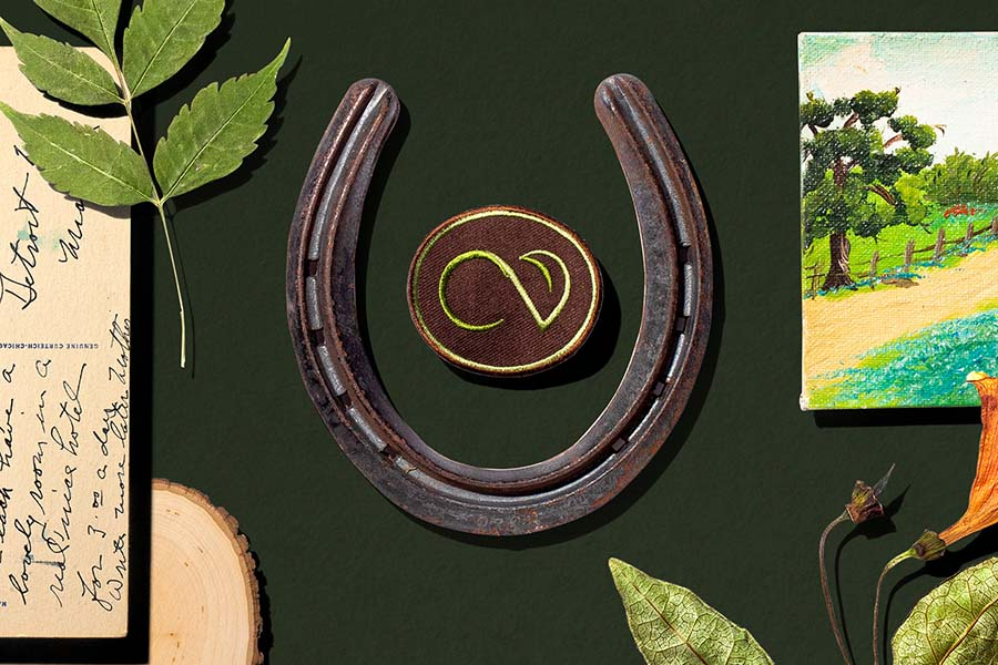 A collage of objects from a Crossvine campaign including a horseshoe and a patch.