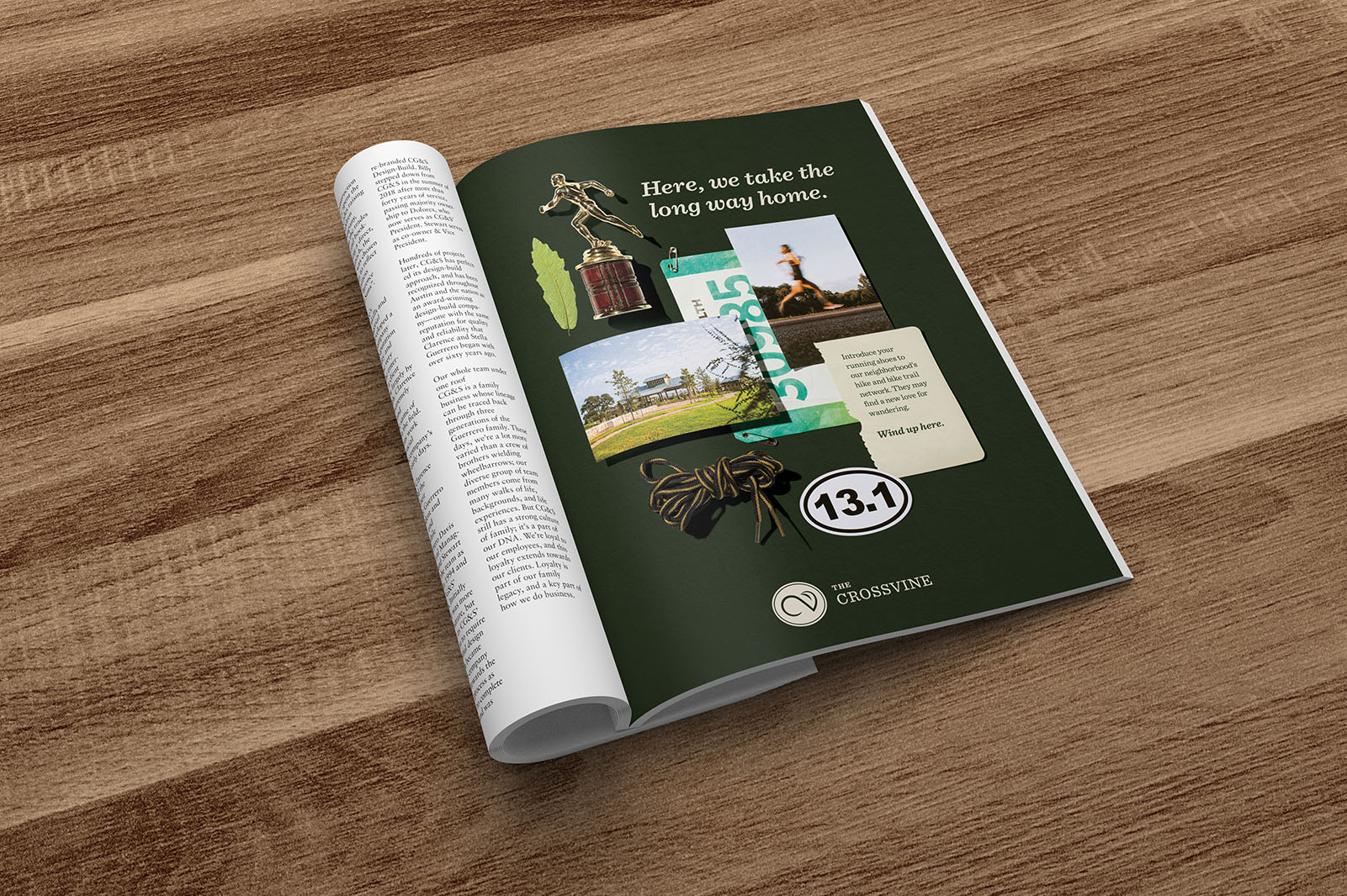 """A mockup of a print ad from the collage campaign in a local magazine. It reads """"Here, we take the long way home."""""""