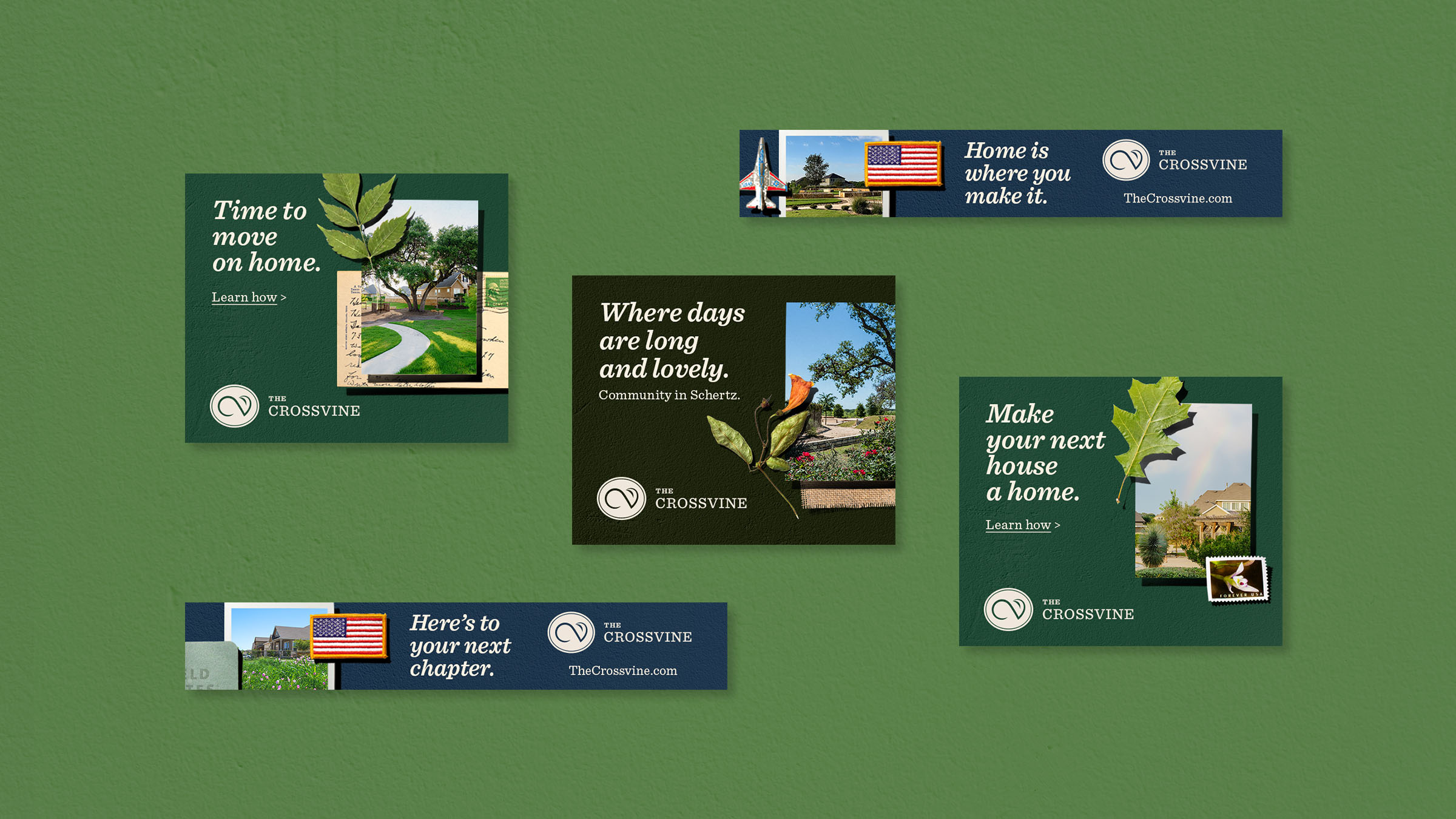 """Various digital ads used from the collage campaign. Slogans include """"Where days are long and lovely"""" and """"Make your next house a home."""""""