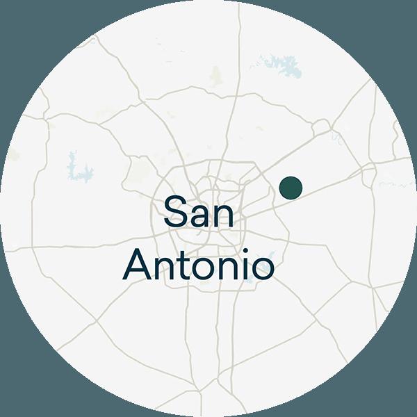 A map of The Crossvine's location northwest of San Antonio, Texas.