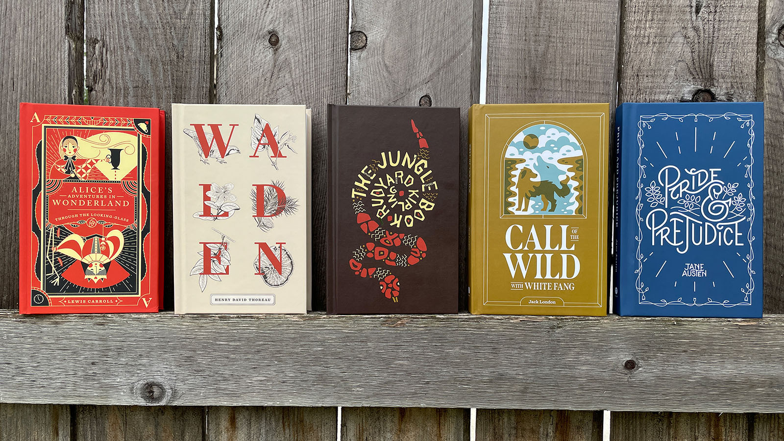 Five classic novels with custom illustrated covers sit on a fence. From left to right: Alice's Adventures in Wonderland, Walden, The Jungle Book, Call of the Wild, Pride and Prejudice.