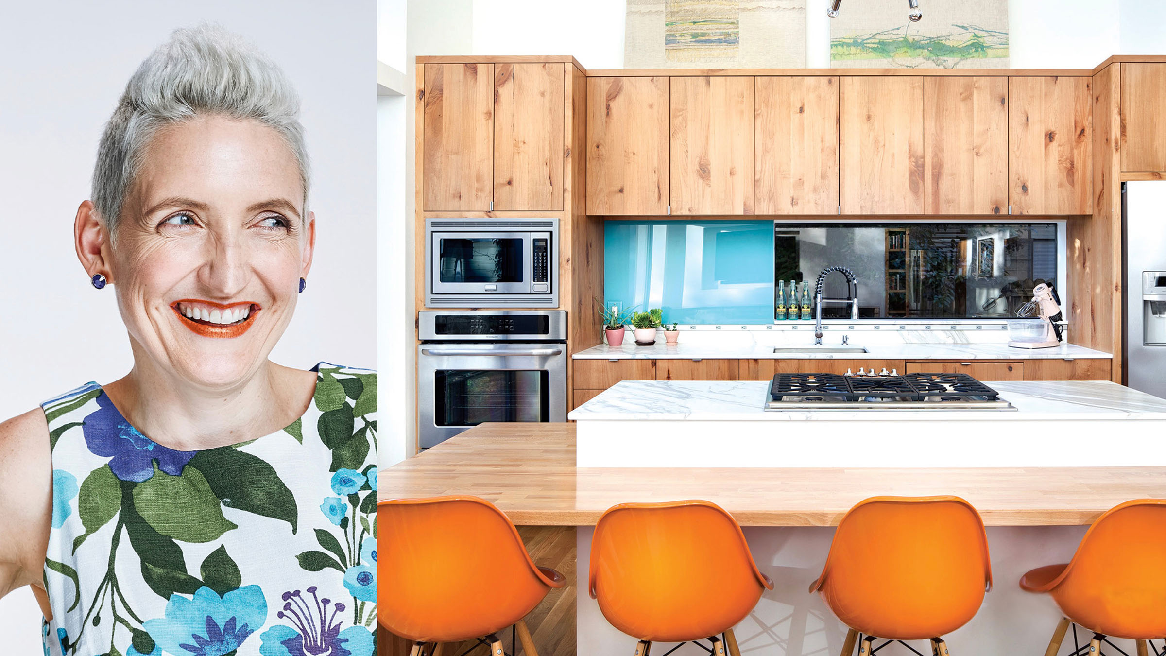 A side-by-side look at a home resident and her kitchen which draws attention to their similar styles.