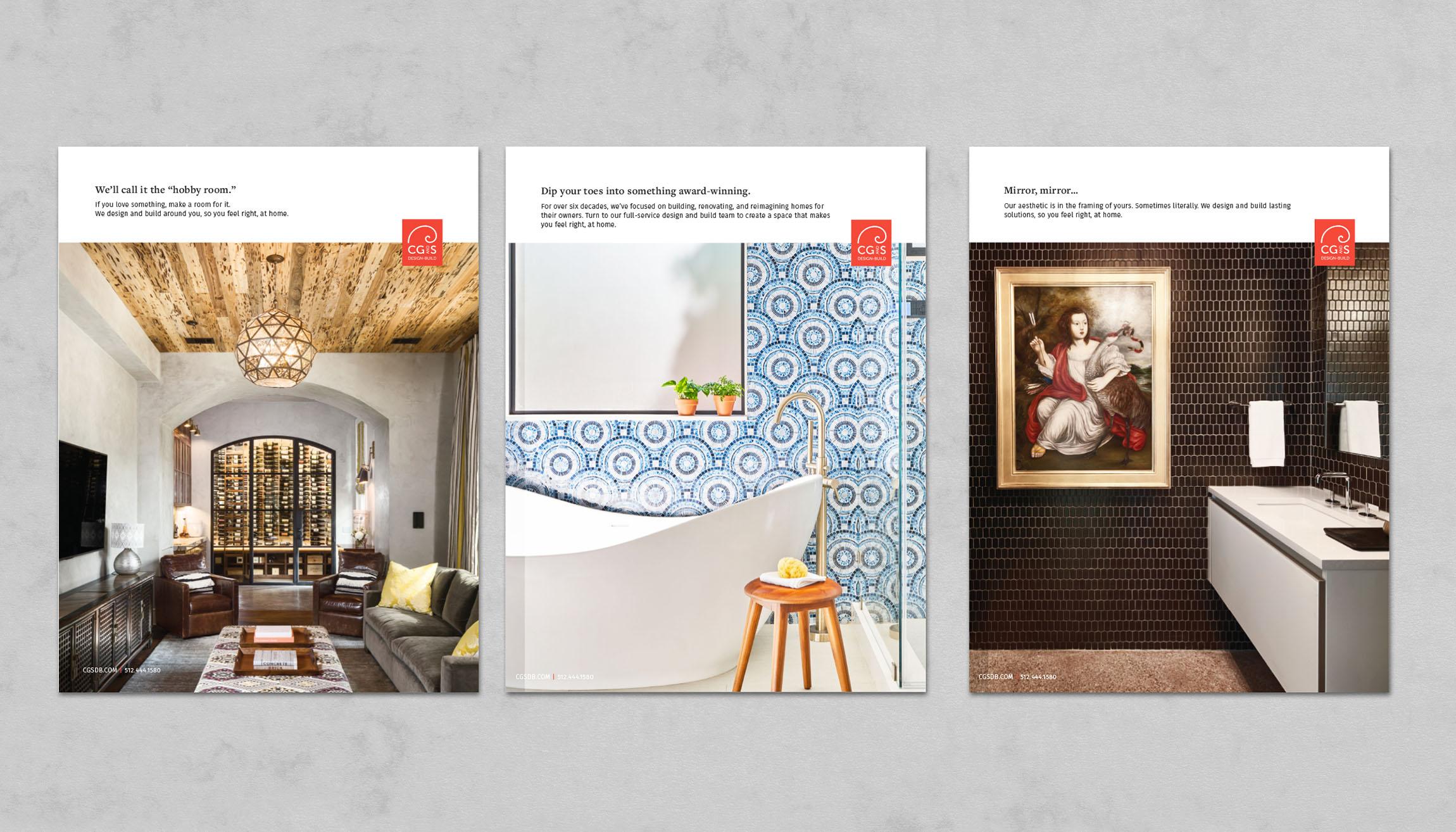 Set of three CG&S print ads showcasing renovated rooms.