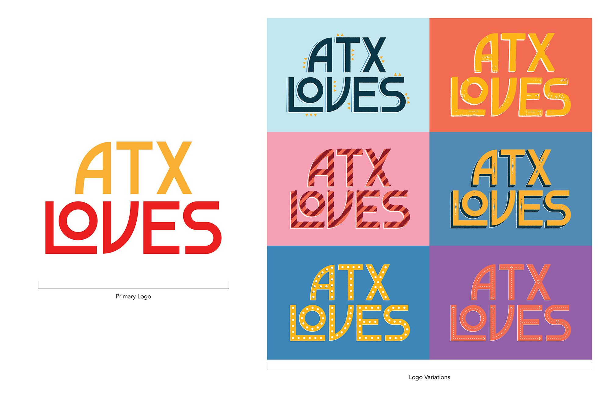 Different versions of the ATXLoves logo in different color schemes.