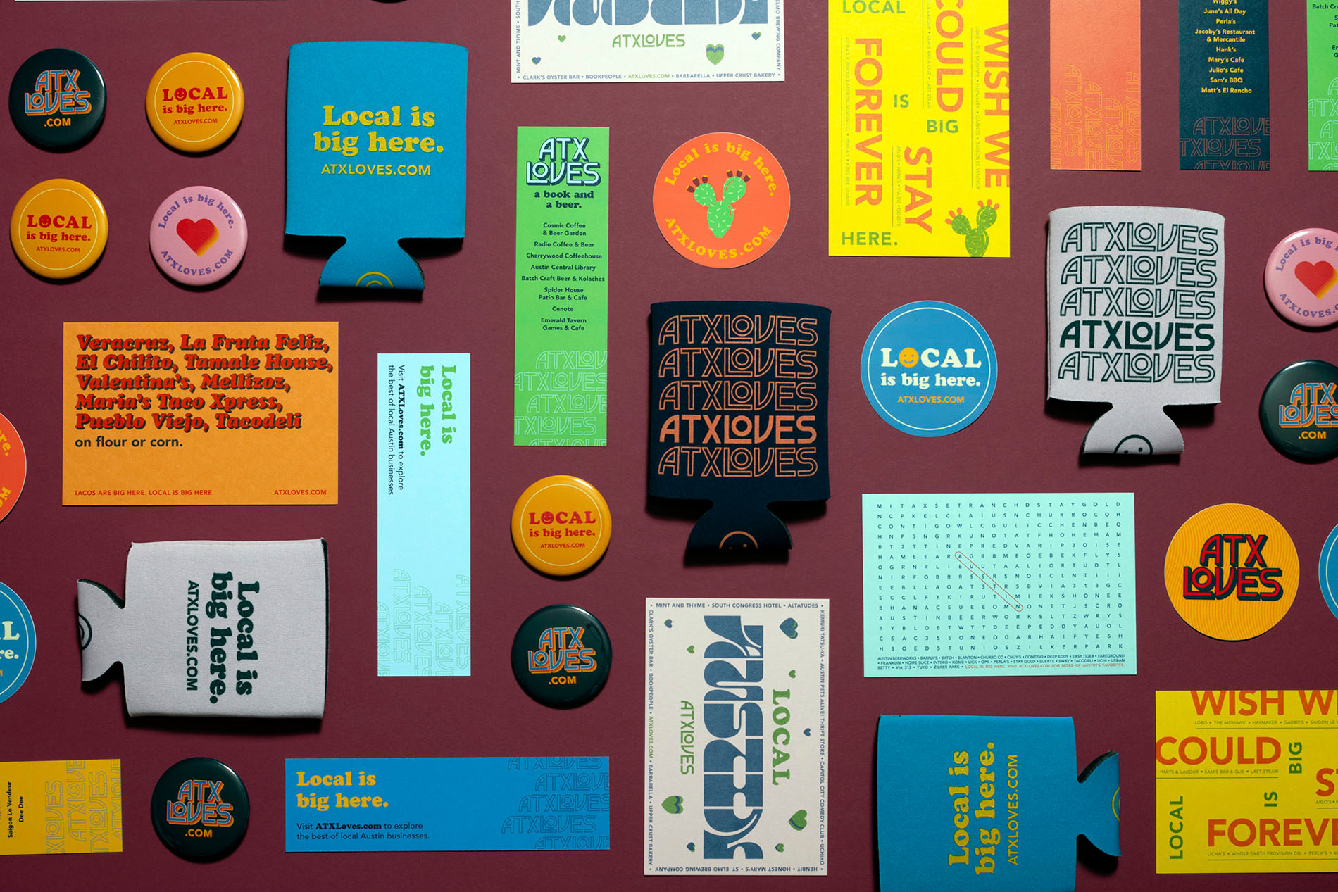 A collection of promotional ATXLoves collateral including stickers, buttons, and drink koozies.