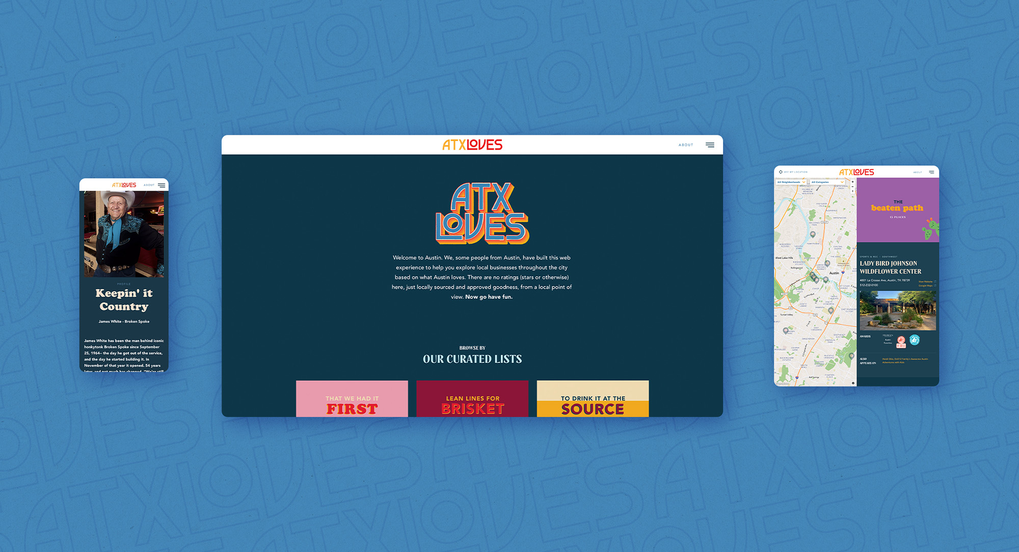 A series of ATXLoves website screens shown on different devices.