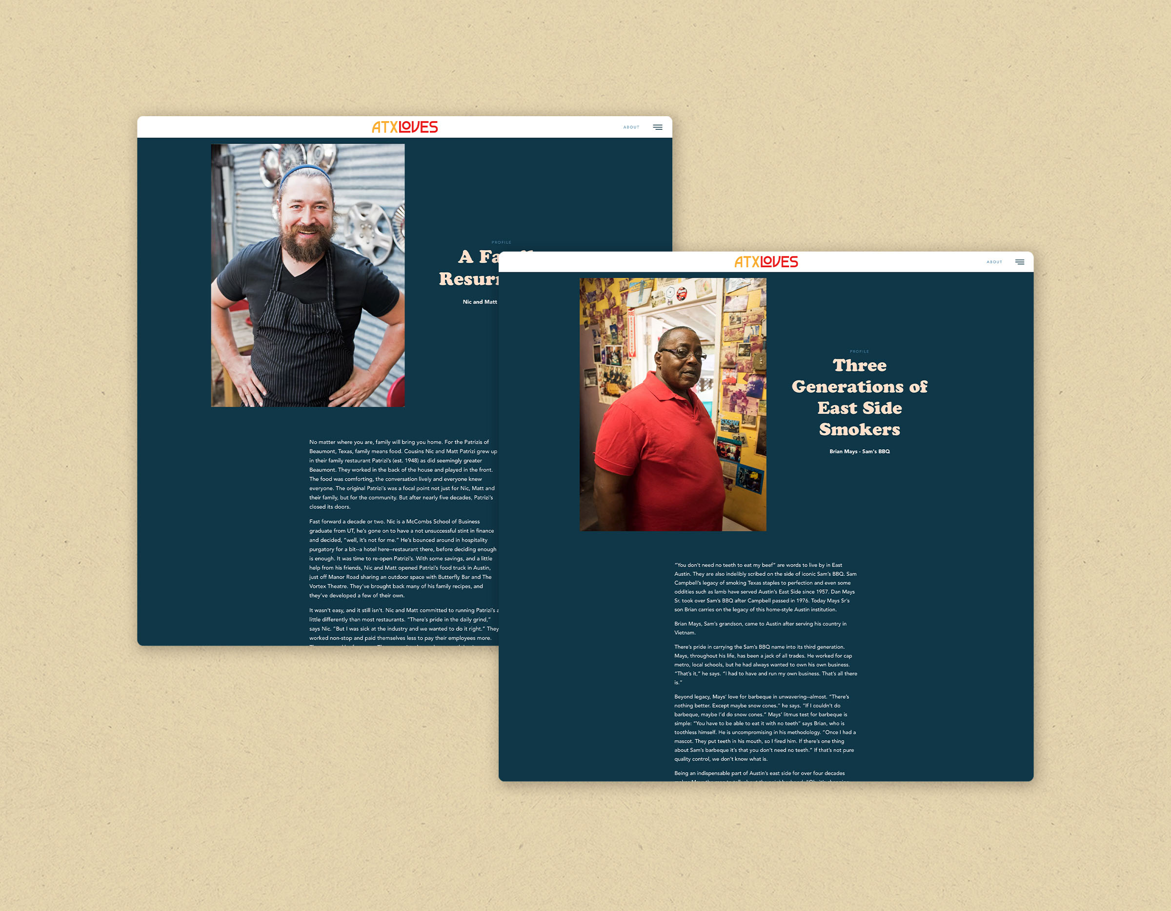 Two profile pages from the ATXLoves website that highlight local small businesses.