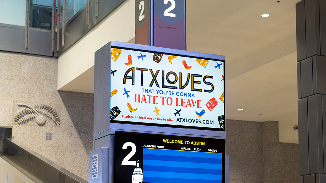 """An illustrated airport sign that says """"ATXLoves that you're gonna hate to leave."""""""