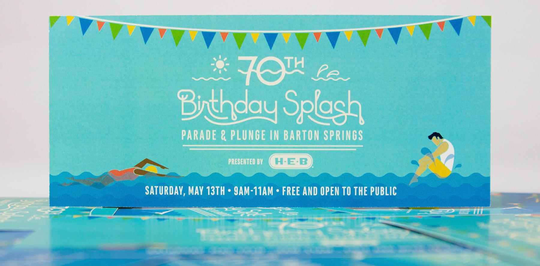 An invitation to Barton Springs Conservancy's 70th Birthday Splash.