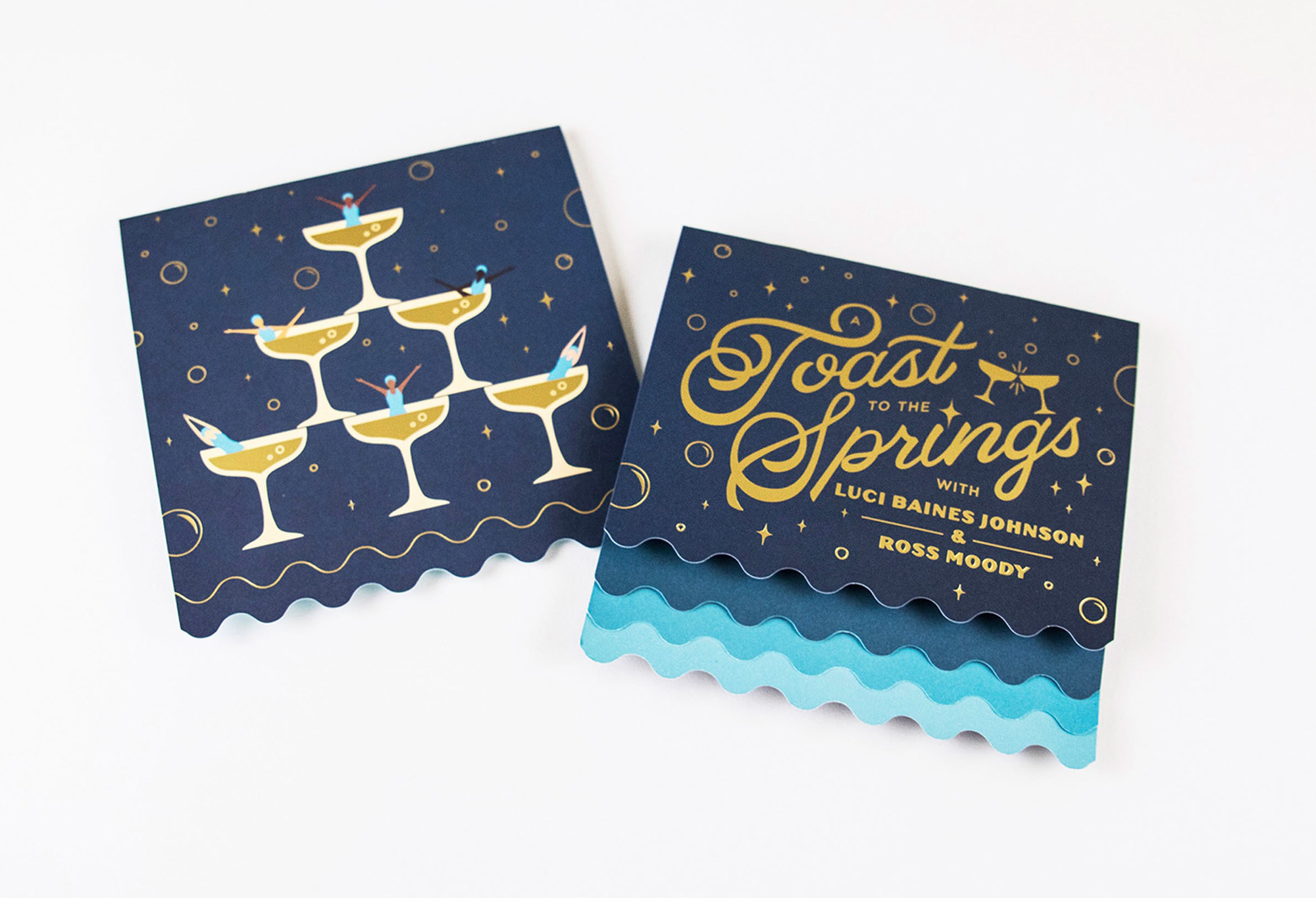 """The front and back of a fundraiser invitation with the name """"Toast to the Springs"""" and illustrations of synchronized swimmers in glasses of champagne."""