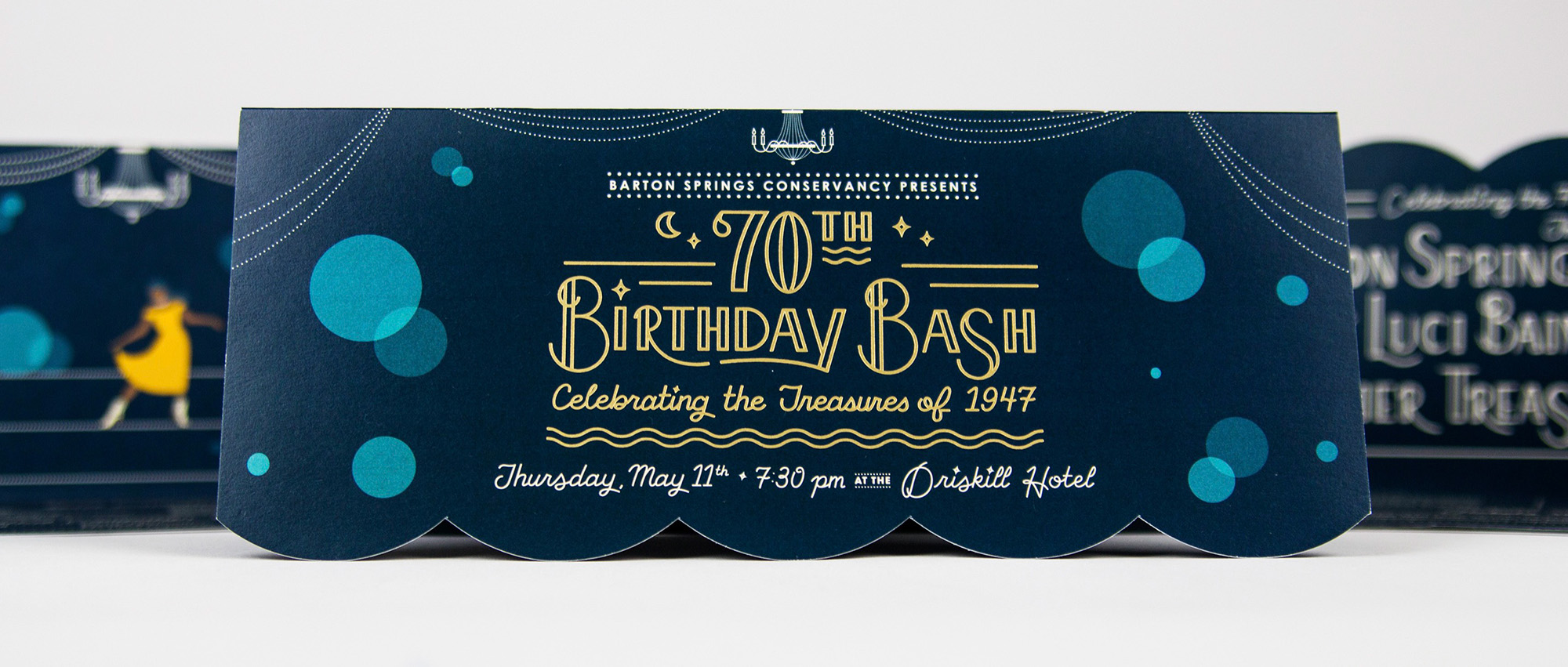 The front of a fundraiser invitation for Bartons Springs' 70th Birthday Bash.